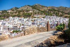 Mijas huizen in de heuvel Stock Foto's