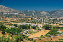 Mijas in Malaga, Andalusia, Spain. Summer Cityscape. Mijas In Malaga, Andalusia, Spain Summer Cityscape Royalty Free Stock Images