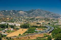 Mijas in Malaga, Andalusia, Spanje De zomer Stock Foto's