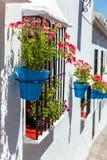 Mijas met bloempotten in voorgevels Stock Foto's