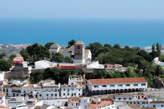 Mijas Pueblo Blanco. View of the towns church (The Immaculate Conception (Iglesia de la Inmaculada Concepcion)) and bullring with the sea to the rear, Mijas Stock Image
