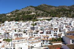 Mijas Pueblo white village in Spain. A view of the Spanish white village of Mijas Pueblo in the Malaga / Costa del Sol region stock photo