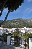 Mijas Spain hillside view. Afternoon view of the mountains and shrine behind the hillside village of Mijas Costa del Sol Spain Royalty Free Stock Image