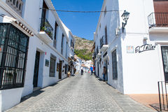 Mijas, Spain- September 29, 2015: One of the most popular streets in the city center of Mijas white village, Andalusia, Spain. Stock Images