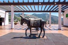 Mijas - standbeeld van ezel Stock Foto