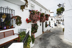 Mijas town, Spain. Street with flowers in the Mijas town, Spain Stock Photography