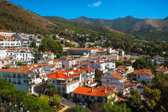 Mijas Village in Spain. White Spanish village Mijas. Village situated in the lowlands of the Sierra de Mijas mountain range and surrounded by pine forest Royalty Free Stock Photos