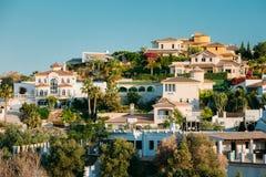 Mijas w Malaga, Andalusia, Hiszpania Lato pejzaż miejski Fotografia Stock
