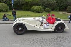 1000 mijlen, Riley Sprite TT (1936), MARINI Bruno en MARINI Andr Royalty-vrije Stock Foto's