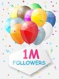 Mijlpaal 1000000 Aanhangers Achtergrond met ballons Stock Foto