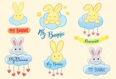 Mijn Bunny Logo en Vectorillustratie en Achtergrond Royalty-vrije Stock Afbeeldingen