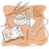 Mijn comfortabele blog Hand getrokken illustratie stock afbeelding