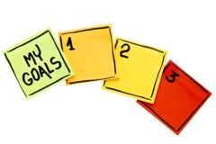 Mijn doelstellingen - kleverig notaconcept stock fotografie