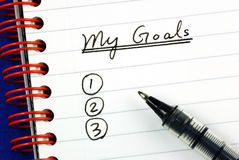 Mijn doelstellingen lijst Stock Foto