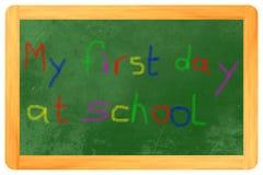 Mijn eerste dag bij schoolkleurkrijtje op bord stock illustratie