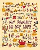 Mijn familie mijn het levenspictogrammen en voorwerpen kleurt Stock Foto's