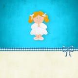 Mijn het Eerste het blondemeisje van de Heilige Communieherinnering bidden Stock Foto's