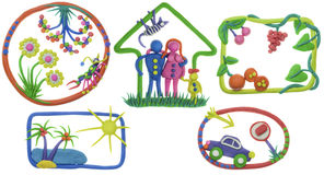 Mijn leven - huis, familie, auto, rust, maaltijd, tuin Stock Afbeelding