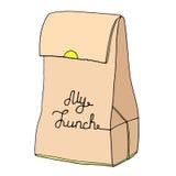 Mijn Lunchillustratie Document voedselzak met een inschrijving Stock Afbeeldingen