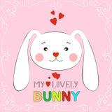 Mijn mooi konijntjesmeisje Hand getrokken de Groetkaart van de Valentijnskaartendag met charmant konijn op witte achtergrond Royalty-vrije Stock Afbeelding