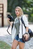 Mijn mooie vrouw met mijn camera Stock Foto