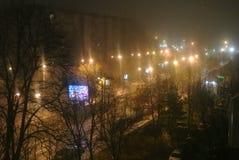 Mijn regenachtige nacht van de buurtboulevard Royalty-vrije Stock Foto