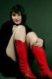 Mijn rode laarzen Stock Foto's