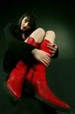 Mijn rode laarzen stock foto