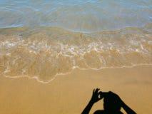 Mijn schaduw die foto's nemen bij het strand Stock Afbeelding