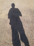 Mijn schaduw in heldere hemel, Hadyai, Songkhla, Thailand royalty-vrije stock afbeelding