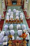 Godsdienstige ceremonie in een Cao Dai tempel, Vietnam Royalty-vrije Stock Foto