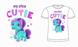 Mijn weinig cutie De grappige illustratie van de beeldverhaalponey met slogan royalty-vrije illustratie