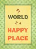Mijn wereld is gelukkige plaats. Retro kijk. Royalty-vrije Stock Afbeeldingen