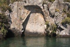 Mijnbaai Maori Rock Carving Stock Fotografie