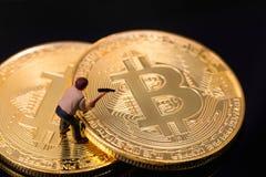 Mijnbouw bitcoin proces Royalty-vrije Stock Fotografie