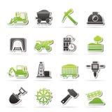 Mijnbouw en mijnbouw pictogrammen Stock Afbeelding