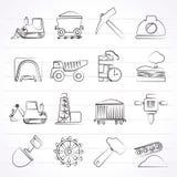 Mijnbouw en mijnbouw pictogrammen Stock Fotografie