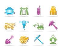 Mijnbouw en mijnbouwvoorwerpen en pictogrammen Royalty-vrije Stock Afbeelding
