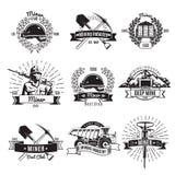 Mijnbouw Uitstekende Emblemen stock illustratie