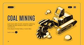 Mijnbouwbedrijf isometrische vectorwebsite stock illustratie