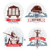 Mijnbouwemblemen en Ontwerpelementen royalty-vrije illustratie
