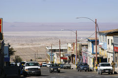 Mijnbouwstad van Chuquicamata stock foto's