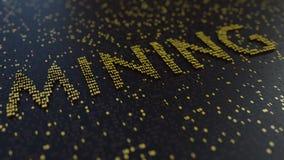 Mijnbouwwoord van het bewegen van gouden aantallen wordt gemaakt dat Cryptocurrency bracht conceptuele animatie met elkaar in ver stock footage