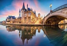 Mijnheer, België bij dag, de oude stad van Gent royalty-vrije stock foto's