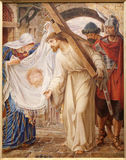 Mijnheer - Jesus en Veronica. Verf in st. Peter s kerk Stock Fotografie