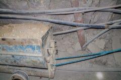 Mijnwagen binnen Cerro Rico mijn in Potosi, Bolivi royalty-vrije stock foto
