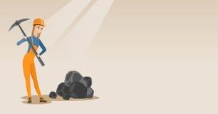 Mijnwerker die met pikhouweel vectorillustratie werken stock illustratie