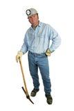 Mijnwerker die - op Pikhouweel leunt royalty-vrije stock afbeeldingen