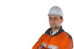 Mijnwerker die op wit met c wordt geïsoleerdu stock foto's