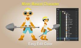 Mijnwerker Mascot Character royalty-vrije illustratie